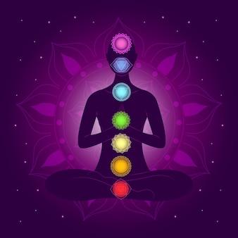 Illustration avec les chakras du corps