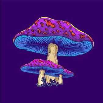 Illustration de champignon de couleur néon