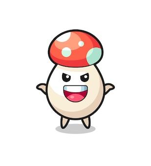 L'illustration d'un champignon mignon faisant un geste effrayant, un design de style mignon pour un t-shirt, un autocollant, un élément de logo