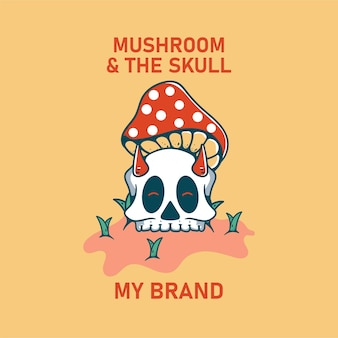 Illustration de champignon avec skull classic vintage retro design pour t-shirts