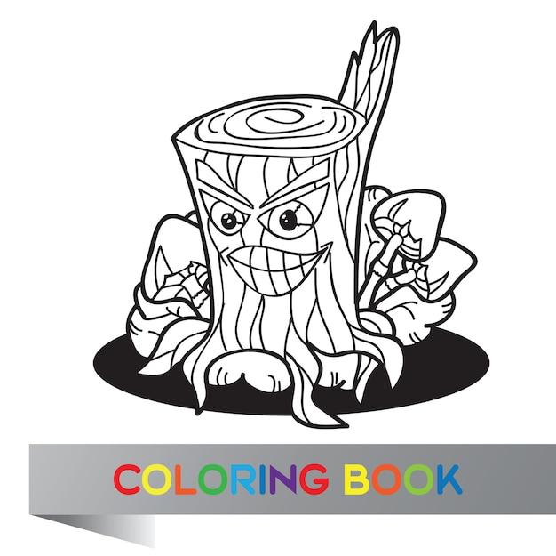 Illustration de champignons isolés avec souche d'arbre sur blanc - livre de coloriage