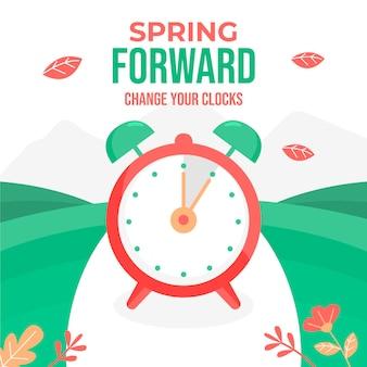 Illustration de changement de temps de printemps avec horloge