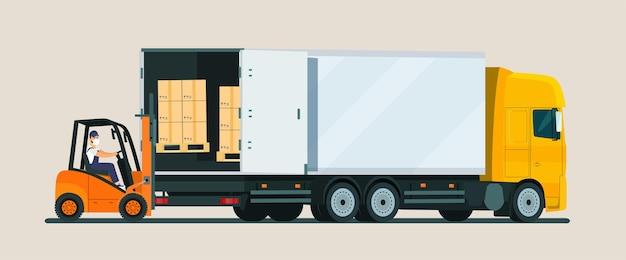 Illustration de chargement de chariot élévateur
