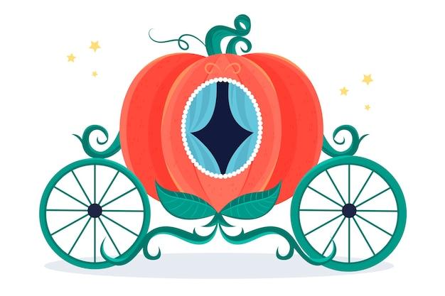 Illustration de chariot de citrouille de conte de fées