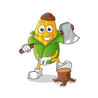 Illustration de charpentier de maïs. vecteur de caractère