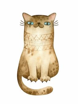 Illustration de chat aquarelle