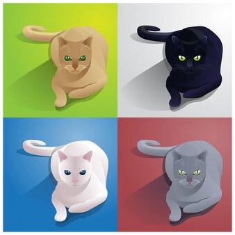 Illustration de chat assis brun, noir, blanc et gris