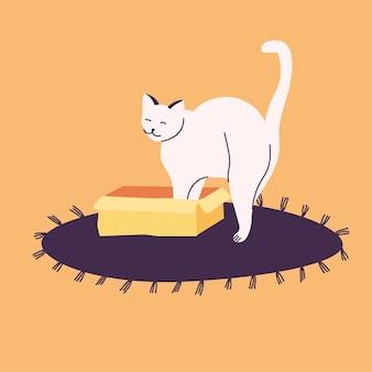Illustration chat blanc se cachant dans une boîte ou un panier sur le tapis.