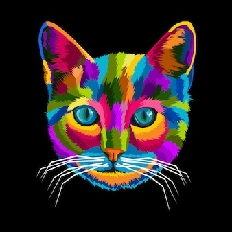 Illustration de chat coloré