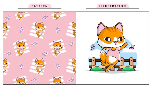 Illustration de chat dansant mignon avec motif décoratif sans soudure