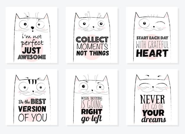 Illustration de chat drôle de croquis de dessin animé de vecteur avec la phrase mignonne de lettrage