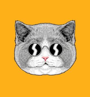 Illustration de chat gris