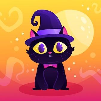 Illustration de chat d'halloween dégradé