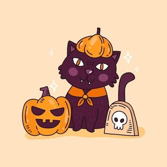 Illustration de chat halloween dessiné à la main