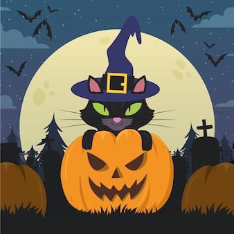 Illustration de chat halloween plat dessiné à la main