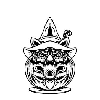 Illustration de chat halloween