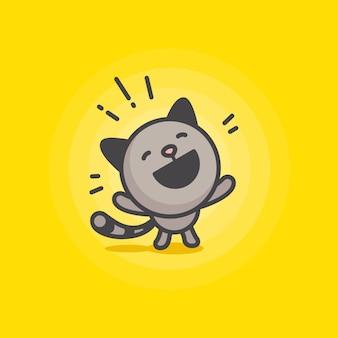 Illustration de chat heureux mignon
