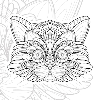 Illustration de chat lineart animal stylisé zentangle