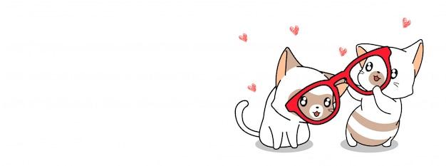 Illustration de chat et de lunettes mignon