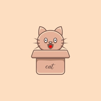 Illustration de chat mignon en carton