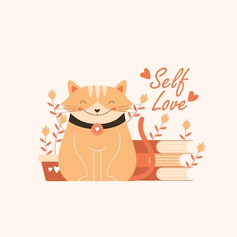 Illustration de chat mignon avec citation de l'amour de soi