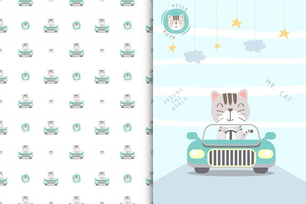 Illustration de chat mignon conduisant une voiture et un modèle sans couture