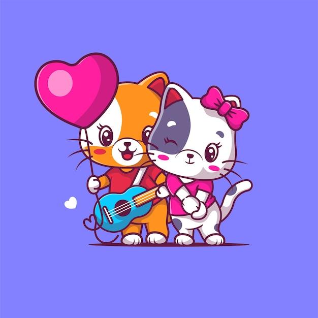 Illustration de chat mignon couple