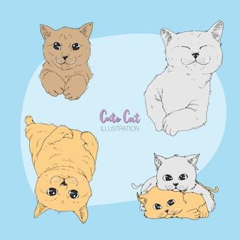 Illustration de chat mignon dessinée à la main