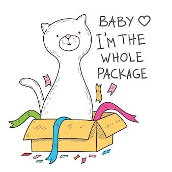 Illustration de chat mignon dessinés à la main pour l'impression de t-shirts