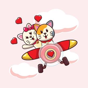 Illustration de chat mignon tombant amoureux volant avec avion