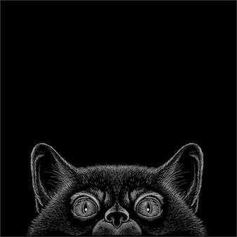 Illustration De Chat Noir Vecteur Premium
