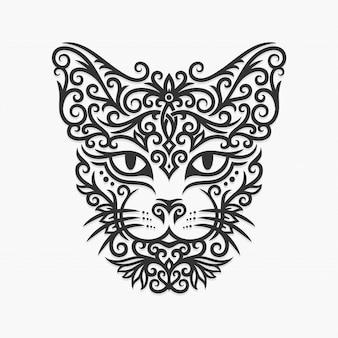 Illustration de chat ornement de bornéo kalimantan dayak