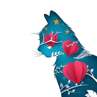 Illustration de chat en papier dessin animé