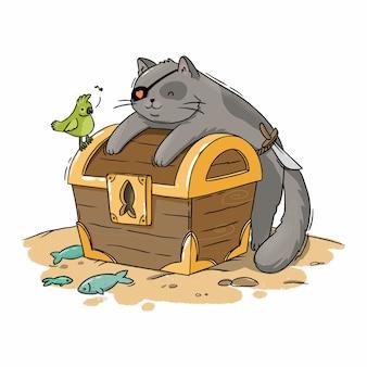 Illustration d'un chat pirate avec un trésor sur le sable