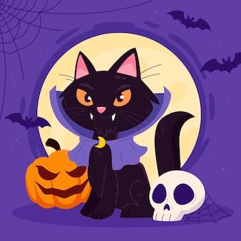 Illustration de chat plat halloween