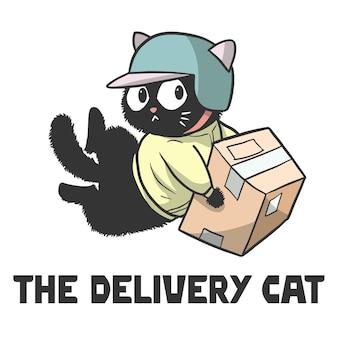 Illustration d'un chat qui est un livreur, chat mignon drôle de bande dessinée