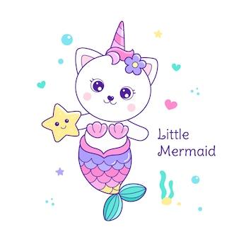 Illustration de chat sirène mignon