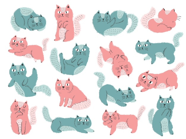 Illustration de chat de style scandinav coloré mignon