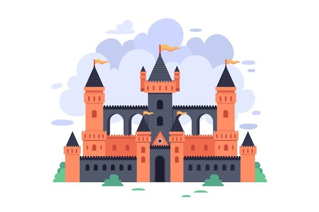 Illustration avec château de conte de fées