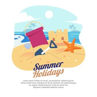 Illustration d & # 39; un château de sable sur une plage en été