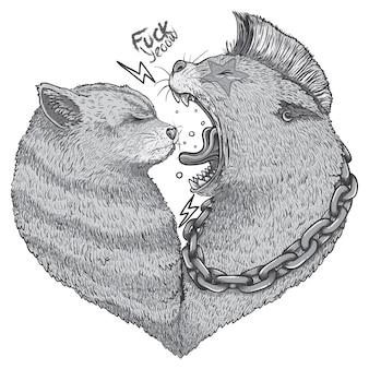 Illustration de chats aimants
