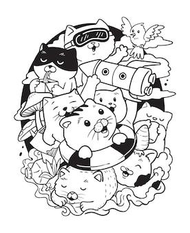 Illustration chats dans la poubelle doodle