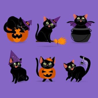 Illustration de chats halloween plats dessinés à la main