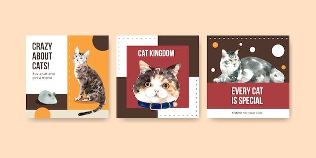 Illustration de chats mignons dans un style aquarelle avec des citations. fou de chats!