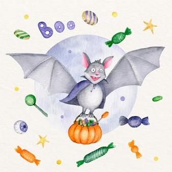 Illustration de chauve-souris halloween aquarelle
