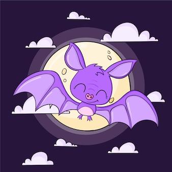 Illustration de chauve-souris halloween dessinée à la main