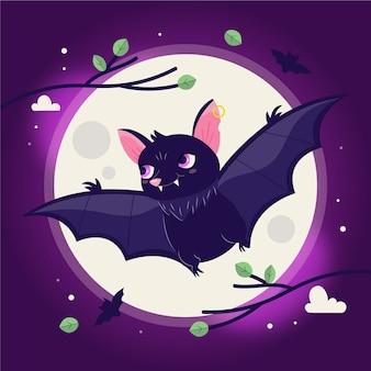 Illustration de chauve-souris halloween plat dessiné à la main