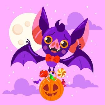 Illustration de chauve-souris halloween plat