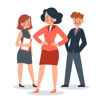 Illustration De Chef D'équipe Féminine Dessinée à Plat Vecteur gratuit