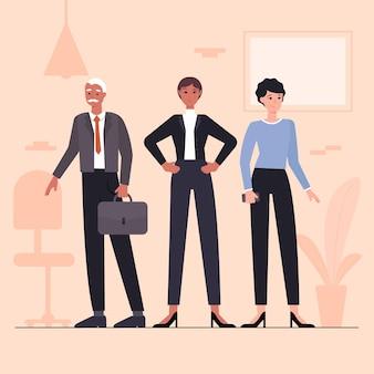 Illustration de chef d'équipe féminine dessinée à plat